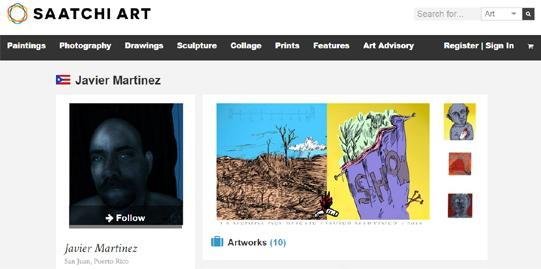 Arte de Javier Martinez en la plataforma cultural y de ventas Saatchi.